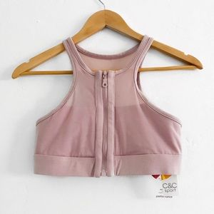NWT C&C Lavender Zip Up Crop Top Sports Bra